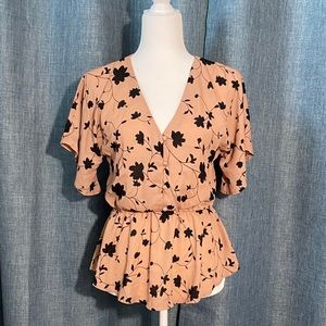 Sienna Sky Dusty Rose Floral Print Blouse Small